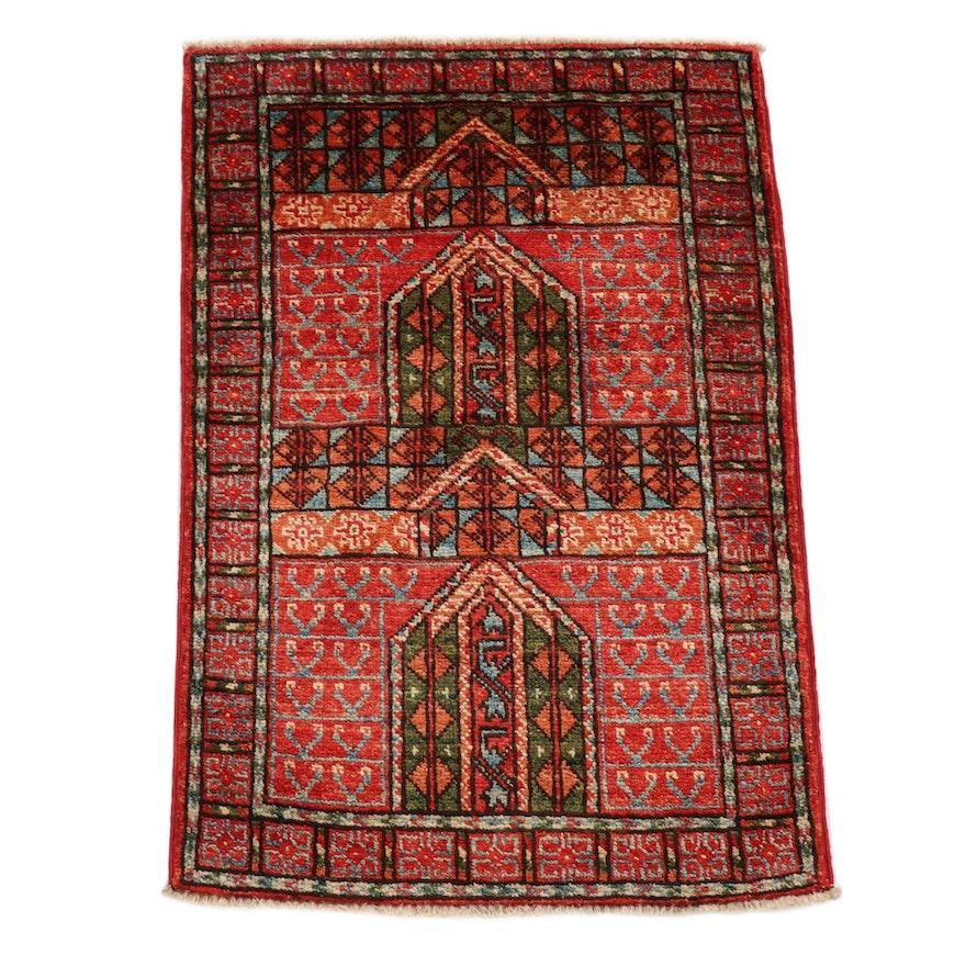 2'1 x 3'1 Hand-Knotted Afghani East Turkestan Prayer Rug, 2010s