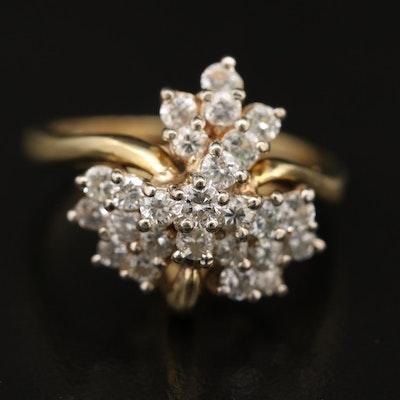 18K 1.02 CTW Diamond Cluster Ring