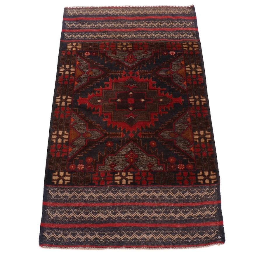 2'11 x 5'1 Handwoven  Afghani Balouch Rug, 1990s