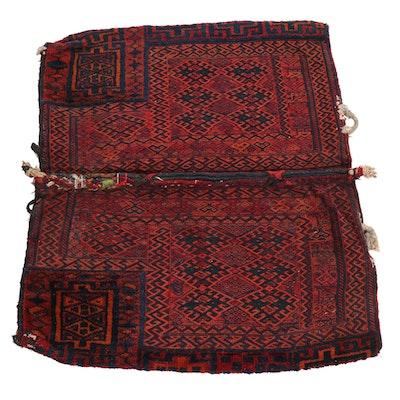 3' x 3'5 Hand-Knotted Persian Kurdish Soumak Rug Cargo Bag, 1920s