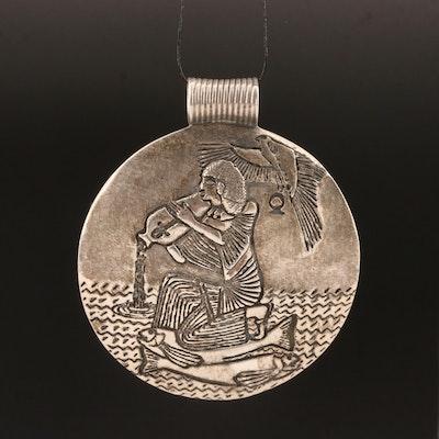 Sterling Silver Egyptian Motif Zodiac Pendant
