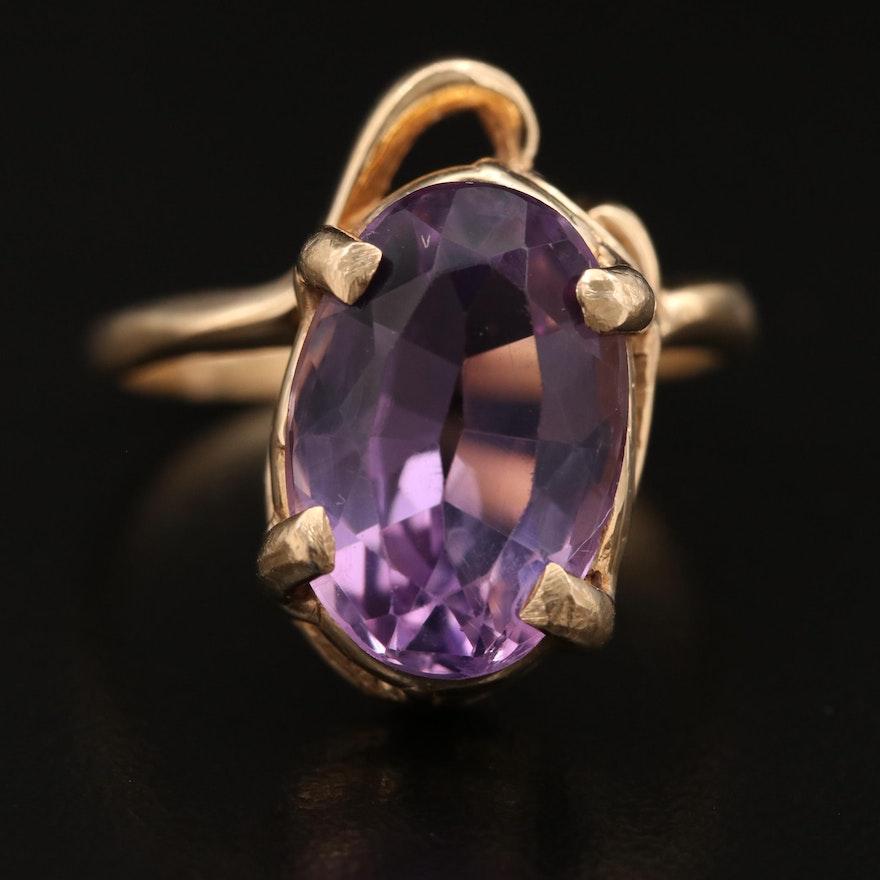 14K Amethyst Asymmetrical Ring