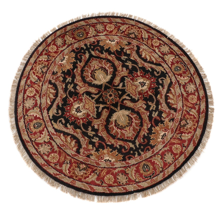 4'2 x 4'2 Hand-Knotted Indo Persian Tabriz Round Rug, 2000s