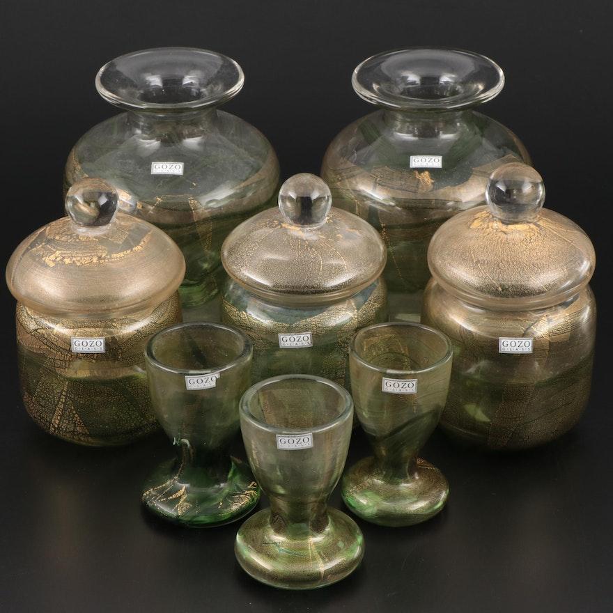 """Gozo """"Verdi"""" Maltese Art Glass Vases, Jars and Egg Cups"""