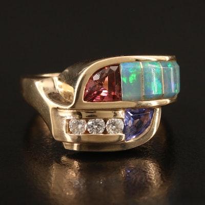 Kabana 14K Diamond and Gemstone Geometric Motif Ring