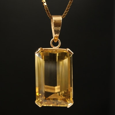 14K 41.50 CT Citrine Pendant Necklace