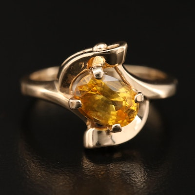 14K 1.90 CT Yellow Sapphire Bypass Solitaire Ring