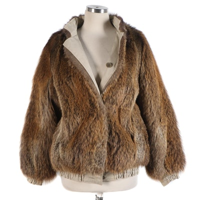Reversible Coyote Fur and Khaki Bomber Jacket
