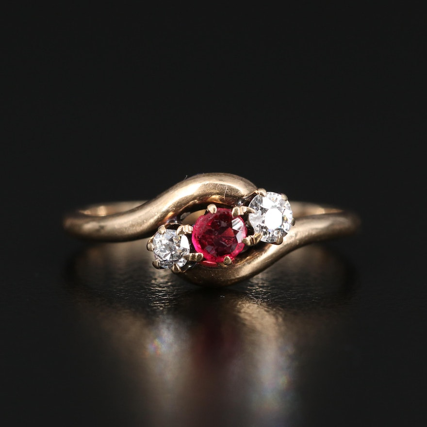 Vintage 14K Garnet Glass Doublet and Diamond Bypass Ring