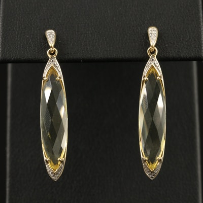Krementz 14K Citrine and Diamond Dangle Earrings
