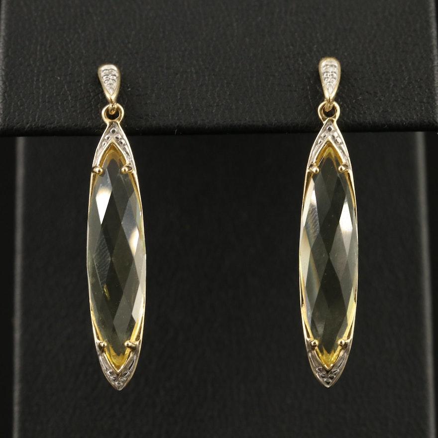 Krementz 14K Citrine and Diamond Dangle Earrings