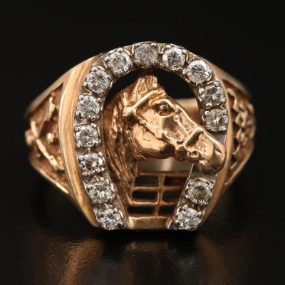10K Diamond Horseshoe Ring