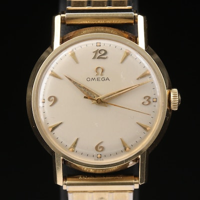 14K Gold Omega Stem Wind Wristwatch, Circa 1956