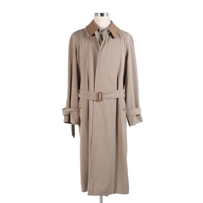 Men's Burberry Single Breasted Trench Coat with Removable Wool Collar