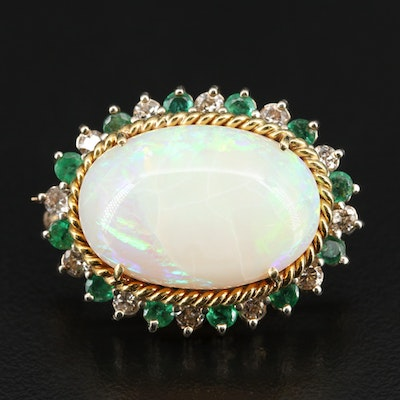 14K Opal, Emerald and 1.08 CTW Diamond Brooch