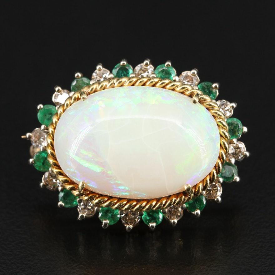 14K Opal, Emerald and 1.08 CTW Diamond Brooch