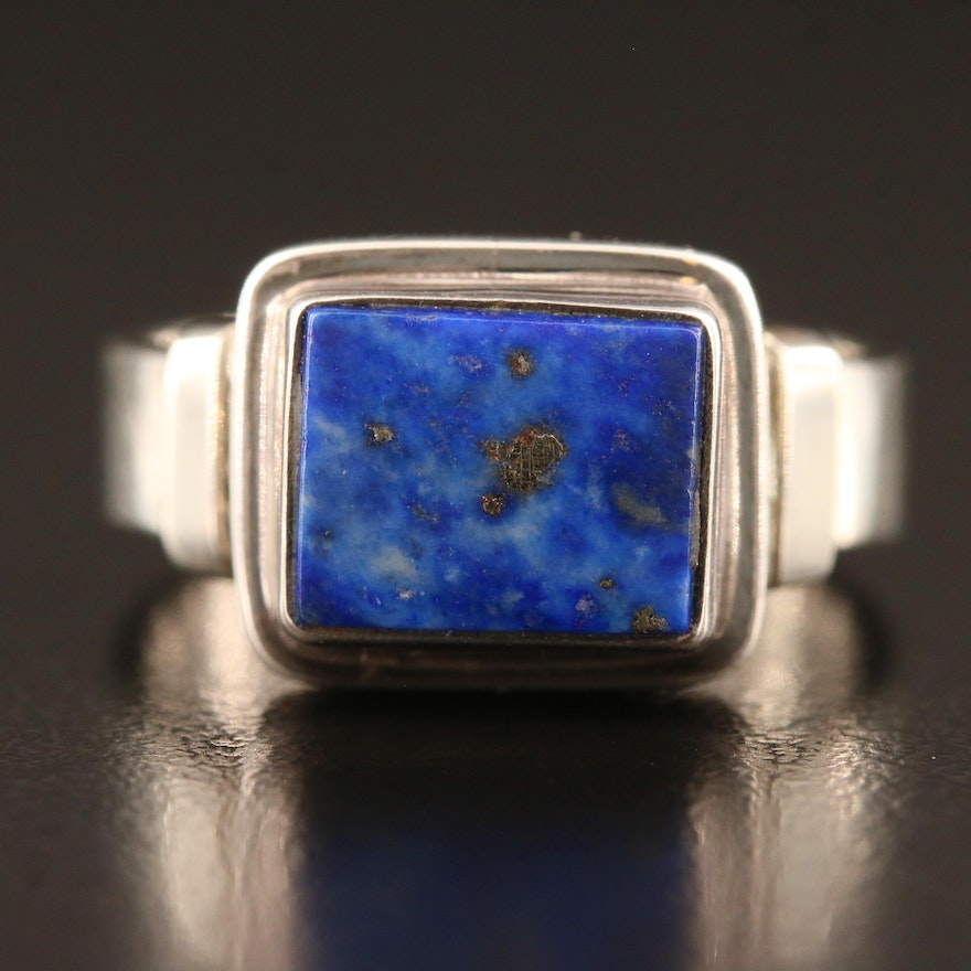 Sterling Silver Lapis Lazuli Rectangular Ring
