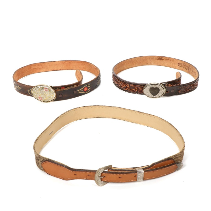 Rattlesnake Skin and Tooled Leather Belts Including Sterling Silver