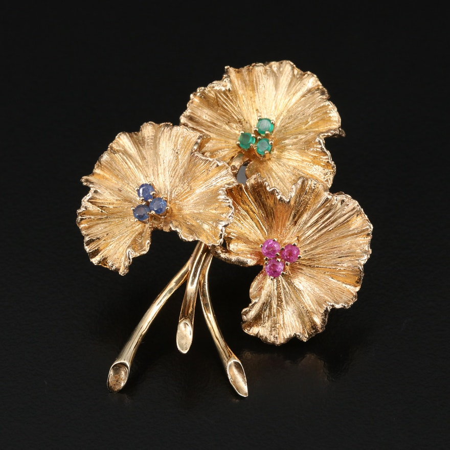 Vintage 14K Ruby, Sapphire and Chalcedony Floral  Brooch