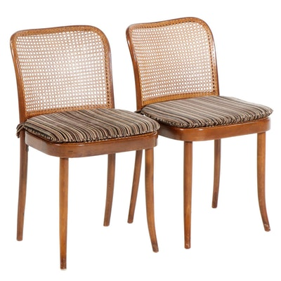 Stendig Mid Century Caned Side Chairs with Velveteen Upholstered Cushions