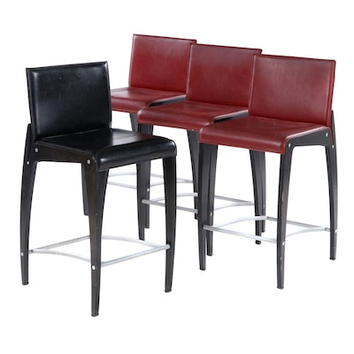 Four Arper Italian Contemporary Ebonized Wood and Bonded Leather Counter Stools