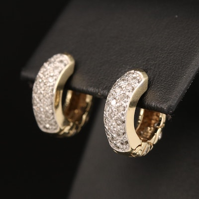 14K 1.02 CTW Diamond Reversible Huggie Earrings with Pavé and Quilted Designs