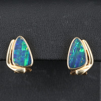 14K Boulder Opal Button Earrings