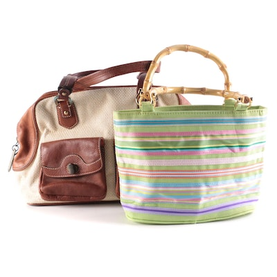 Cole Haan Woven Canvas and Leather and Tianni Bamboo and Ribbon Striped Handbags