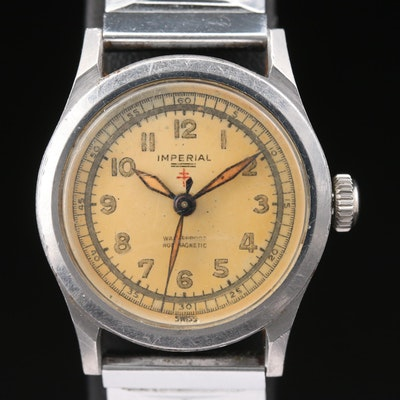 Vintage Imperial World War II Era Stem Wind Stainless Steel Military Wristwatch