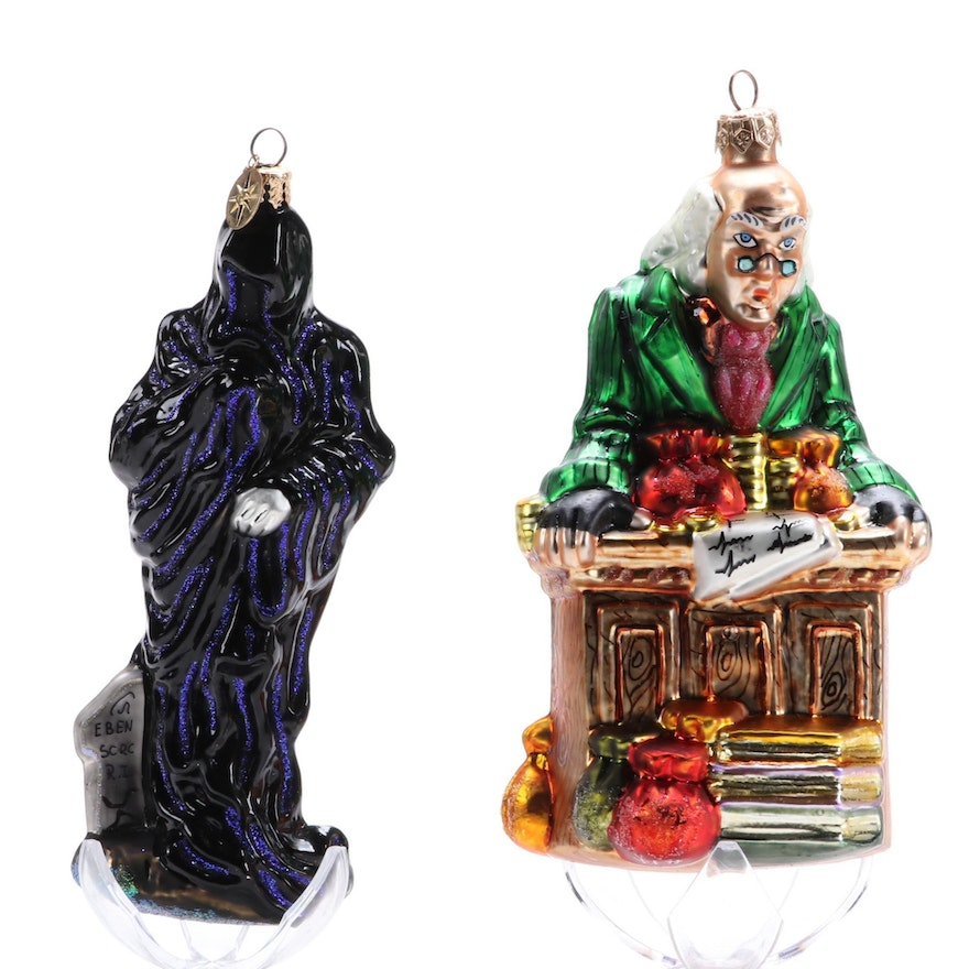 """Christopher Radko """"Scrooge"""" and """"Ghost of Christmas Future"""" Glass Ornaments"""