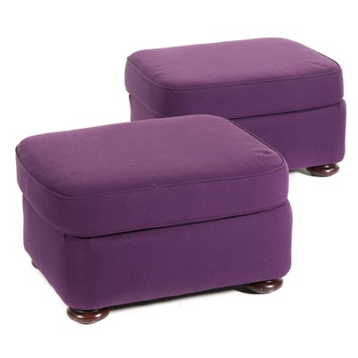 Pair of Purple Upholstered Ottomans