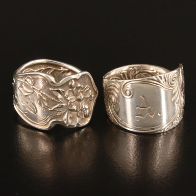 Sterling Silver Foliate Spoon Rings