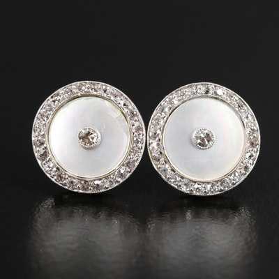 Sterling Diamond and Mother of Pearl Stud Earrings with Platinum Top