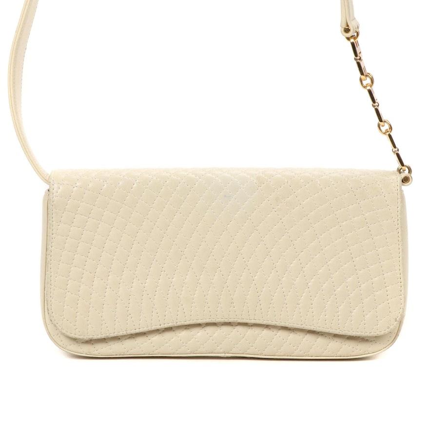 Bally Beige Stitched Leather Shoulder Bag