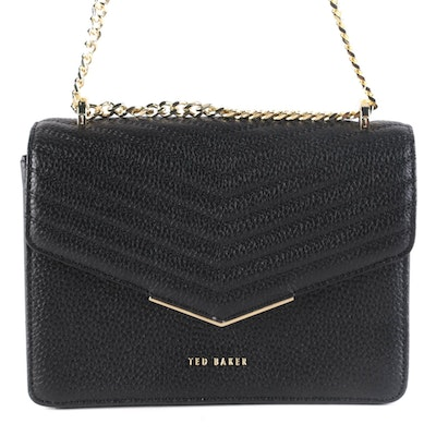 Ted Baker Black Matelassé Style Leather Crossbody Bag