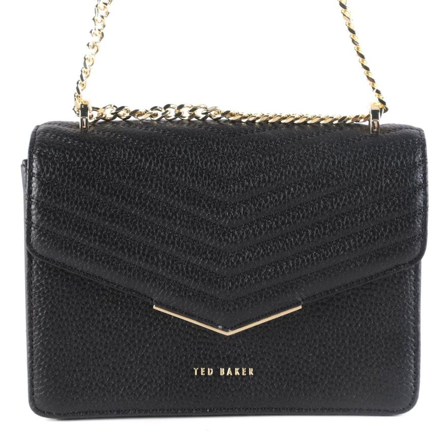 Ted Baker Black Matelassé Style Leather Crossbody Bag