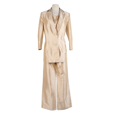 Neiman Marcus Exclusive Silk Shantung Champagne Gold Pantsuit
