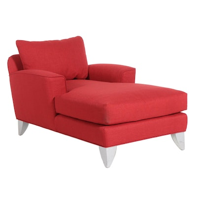 Modern Red Upholstered Chaise