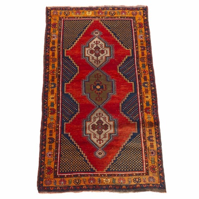 3'5 x 6'6 Hand-Knotted Turkish Village Rug, 1920s