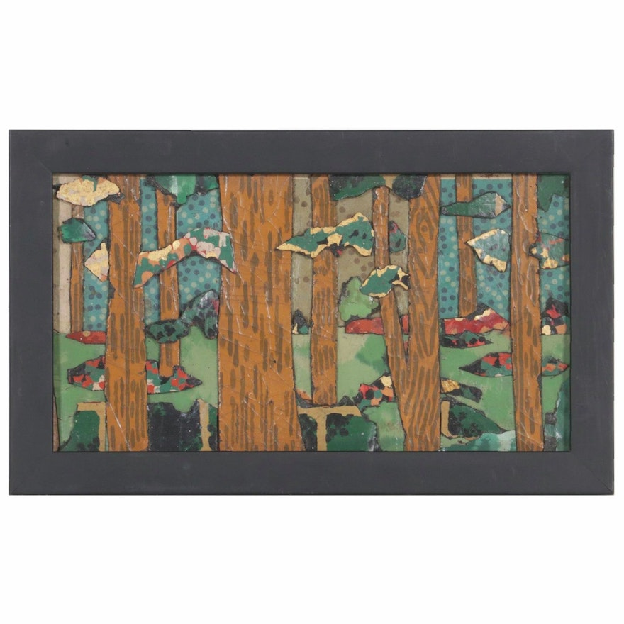 """Bill Miller Mixed Media Painting """"Frick Woods Study,"""" 2018"""