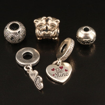 Pandora Sterling Silver Cubic Zirconia and Enamel Charm Selection