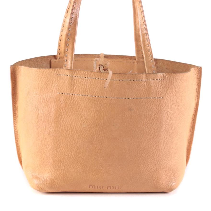 Miu Miu Tan Leather Contrast Stitch Bag