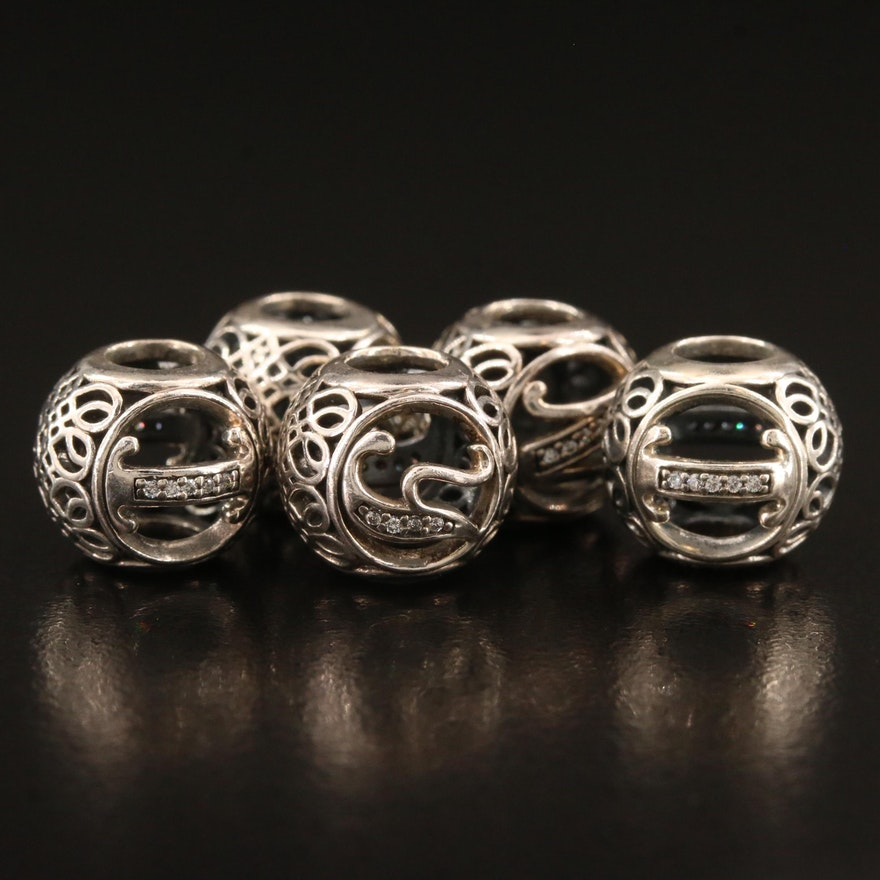 Pandora Sterling Silver Initial Bead Charms with Cubic Zirconia Accents