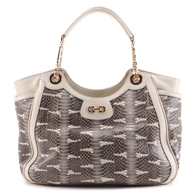 Salvatore Ferragamo Betulla Snakeskin Tote with Leather Trim