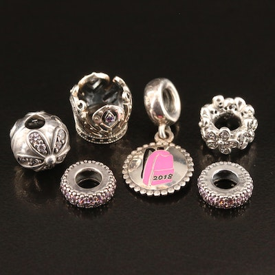 Pandora Sterling Silver Cubic Zirconia Charms Featuring Disney Crown Charm