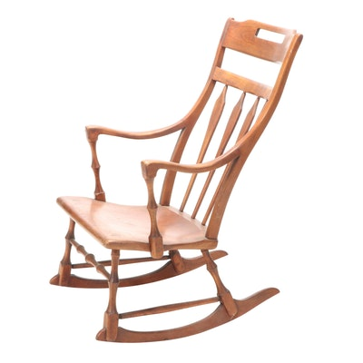 The Sikes Company Colonial Revival Walnut Rocking Armchair, 20th Century