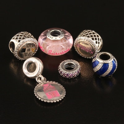 Pandora Sterling Silver Charms with Cubic Zirconia, Enamel and Glass Accents