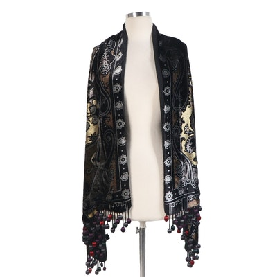 ETRO Fringed Shawl in Black Velvet with Metallic Gold Thread