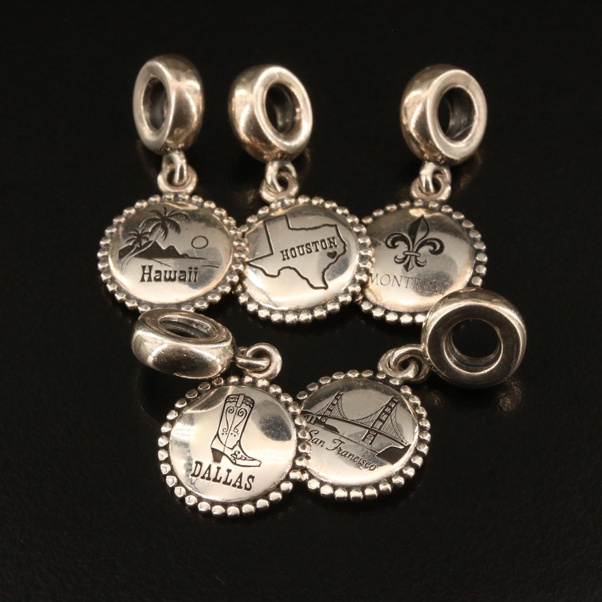 Pandora Sterling Silver Travel Charms