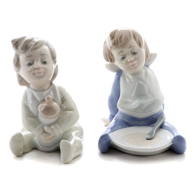 "Nao by Lladró  ""Bedtime Snack"" and ""I'm Full"" Porcelain Figurines"